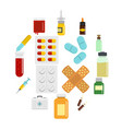 different drugs icons set in flat style vector image