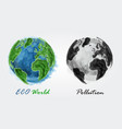 eco world and pollution watercolor painting vector image vector image
