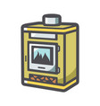 fireplace home hearth icon cartoon vector image