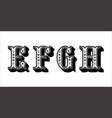 folk alphabet ornamental floral letter e f g h vector image vector image