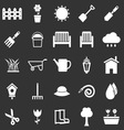 Gardening icons on black background vector image vector image