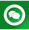green circle shiny icon - speech bubbles vector image