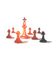 hand drawn chess king between pawns vector image