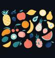 hand drawn tropical fruits organic apple banana vector image