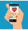 hand hold smarphone fitness application vector image