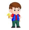 healthy little boy eating banana vector image vector image