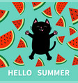hello summer black cat jumping or making snow vector image vector image