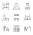 house furniture icon set outline style vector image