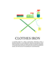 Iron and clothes on ironing board flat design vector image