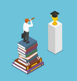 isometric businessman looking to graduation cap vector image vector image