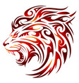 lion tattoo with fire flames vector image vector image