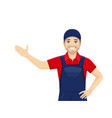 man in overalls presenting vector image vector image