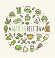 matcha tea sign round design template thin line vector image