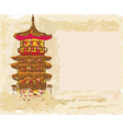 Old paper with Chinese old building vector image