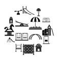 playground black simple icons set vector image