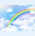 rainbow and clouds background vector image