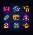 ramadan kareem icon set neon design template vector image