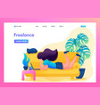 remote work girl works as a freelancer vector image