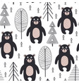 seamless pattern with bear in forest scandinavian vector image vector image