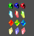 set of cartoon colorful gemstone icons vector image vector image