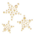 shiny gold color stars from little snowflakes vector image
