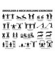 shoulder and neck building exercise and muscle vector image vector image