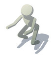 stick man squatting icon isometric style vector image vector image