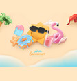 summer beach holiday background 3d realistic sea vector image