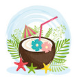 summer holiday poster with coconut cocktail vector image vector image