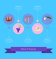 wine choices icons and ribbon vector image vector image