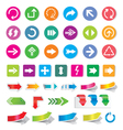 Arrow sign icon set and labels vector image
