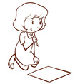 A simple drawing of a girl writing vector image vector image