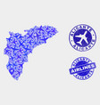 airflight mosaic alicante province map and vector image vector image