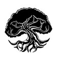 black tree icon with branched roots vector image