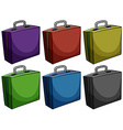 Briefcases in six colors vector image