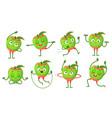 cartoon apple character fitness doing gymnastics vector image vector image