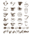 coffee cups beans and steam shapes template vector image