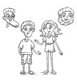 cute boy and girl drawn characters outline vector image vector image