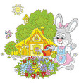 easter bunny with flowers vector image vector image