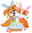 Easter cat and dog vector | Price: 3 Credits (USD $3)