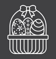 easter eggs in basket line icon easter vector image vector image