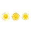 emoji cartoon sun flat icon doodle vector image vector image