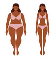 fat and thin afro-american woman before and after vector image