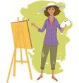 Female artist painting vector image