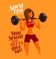 fitness gym bodybuilding concept girl or young vector image vector image