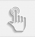 hand click on button white icon with soft vector image vector image