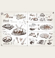 hand drawn meat dishes for menu design vector image vector image