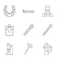 industrial blacksmith icon set outline style vector image vector image