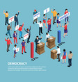 isometric democracy system background vector image vector image