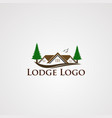 lodge logo with modern real estate and two tree vector image vector image